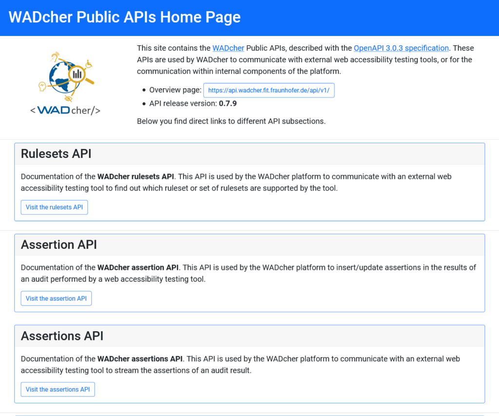 Screenshot of the WADcher API documentation